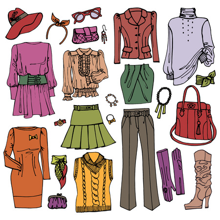 Fashion Sketchy.Females clothing and accessories set Vector