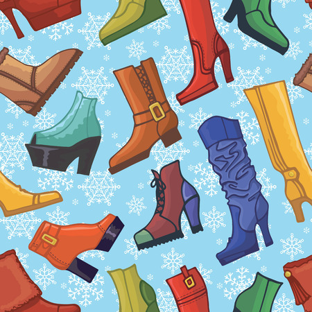 Colored women\'s boots ,shoes,snowflakes seamless pattern