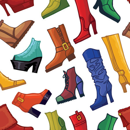 leather goods: Colored womens boots ,shoes seamless pattern