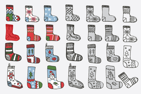 Christmas knitted stockings. Doodle hand sketch Vector