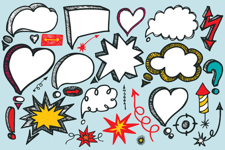 Comic Speech Bubbles and arrow colored set. Doodle vector Vector