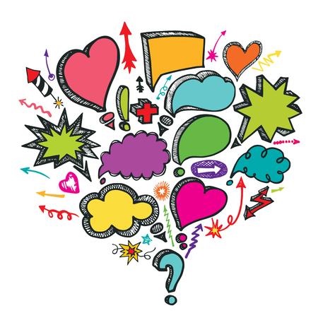 Comic Speech Bubbles and arrow colored composition. Doodle vector Vector