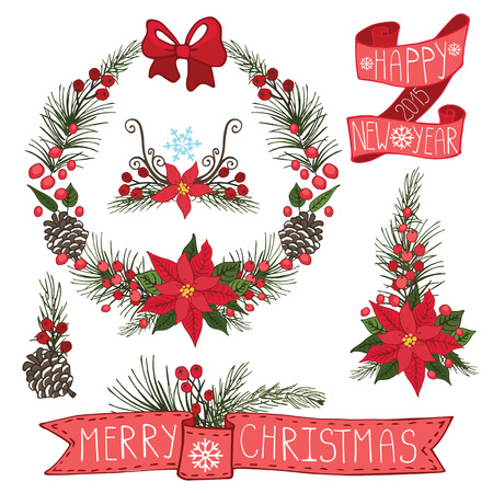 Merry Christmas and Happy New Year Wreath ,group,border,flowers,spruce,ribbons.Flat decor elements for invitations,print,feb,card,banner.Festive vector