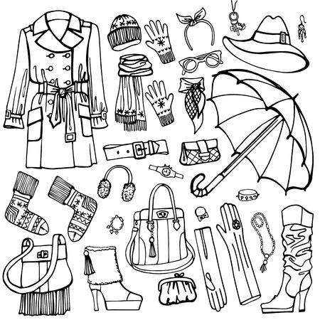 outerwear: Outline moda outerwear e accessori impostati usura style.Woman Sketchy in abbozzo femminile. Autunno, inverno, donna moda primavera Vector.