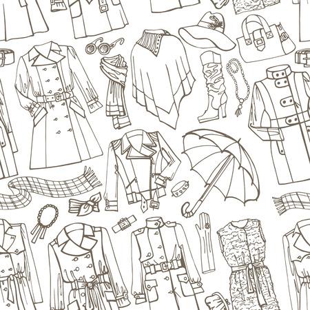 ropa de invierno: Esquema outerwearand femenina de moda los accesorios sin fisuras patrón de Sketchy style.Woman otoño, invierno, ropa de primavera en contorno tela sketch.For, fondo, contexto, Wallpaper.Fasion Vector. Vectores