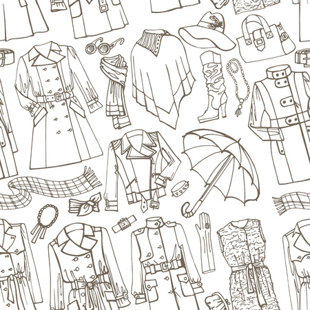 autumn fashion: Outline Fashionable female outerwearand accessories seamless pattern on Sketchy style.Woman Autumn ,winter,spring wear in outline sketch.For fabric,background,backdrop,Wallpaper.Fasion Vector.