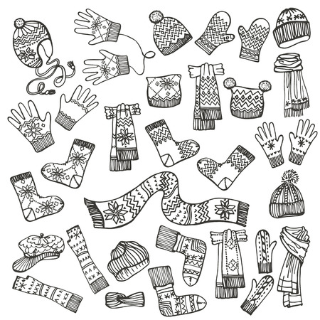 Outline Fashionable female knitted accessories set on Sketchy style.Autumn ,winter woman wear.Mittens,gloves,stockings,socks,hats, scarf with folk ornament.Fashion illustrations.Vector.