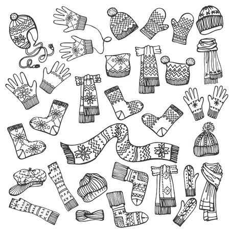 Schetsen Modieuze vrouwelijke gebreide accessoires set op schetsmatige style.Autumn, winter vrouw wear.Mittens, handschoenen, kousen, sokken, mutsen, sjaal met folk ornament.Fashion illustrations.Vector.