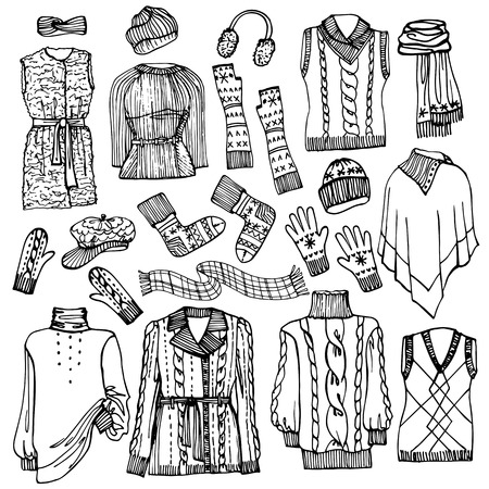 Outline Fashionable female knitted  clothing and accessories set on Sketchy style.W Autumn ,winter woman wear.Fashion illustrations.Vector. Vector