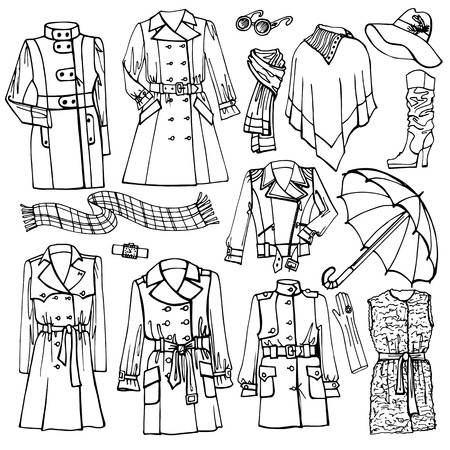 outerwear: Outline Fashionable female outerwear and accessories set on Sketchy style.Woman wear in outline sketch. Autumn ,winter,spring woman fashion Vector.