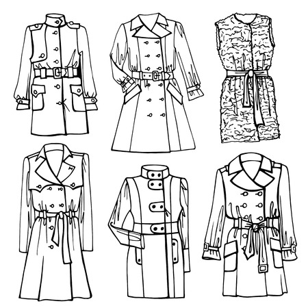 spring coat: Outline Fashionable female coat set on Sketchy style.Woman wear in outline sketch. Autumn ,winter,spring woman fashion Vector.