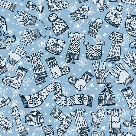 Female knitted accessories seamless pattern on Sketchy style with snowflakes.Winter  wear.Mittens,gloves,stockings,socks,hats, scarf with folk ornament.Backdrop,background,fabric,Wallpaper.Fashion illustrations.Vector. Vector