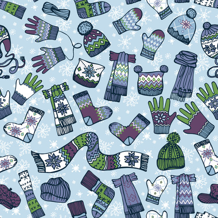Fashionable female knitted accessories seamless pattern on Sketchy style with snowflakes.Winter  wear.Mittens,gloves,stockings,socks,hats, scarf with folk ornament.Backdrop,background,fabric,Wallpaper.Fashion illustrations.Vector. Illustration