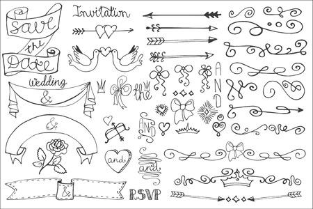 Wedding ribbons, swirl borders,decor set.Doodle Vector