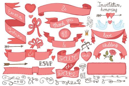 Doodles Wedding ribbons, swirl element,decor set Vector