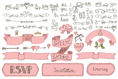 baby hand: Doodles Wedding ribbons, borders,badges,decor set