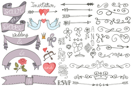 Doodle Wedding ribbons, swirl borders,decor set Vector