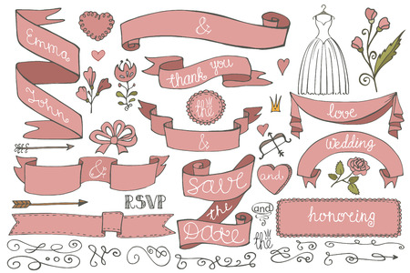 Doodle bridal shower ribbons,border,decor elements set Vector