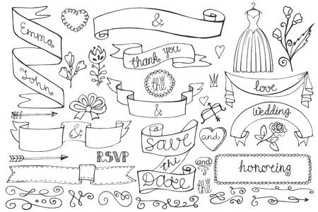 Doodle bridal shower ribbons,border,decor elements set Vector