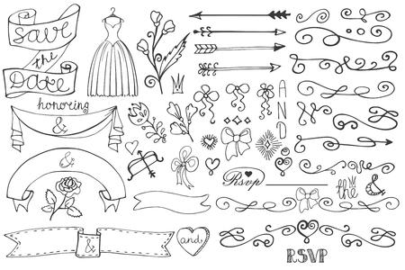 Doodle bridal shower border,ribbon,decor elements set Vector