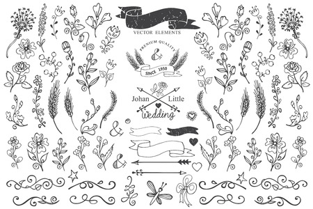 Doodle borders,ribbons,floral decor element for logo Ilustração