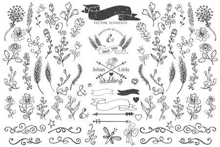 Doodle borders,ribbons,floral decor element for logo Vettoriali