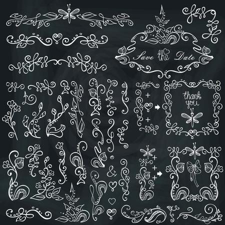 Doodle border,frame,decor element.Floral sketched chalcboard Vector