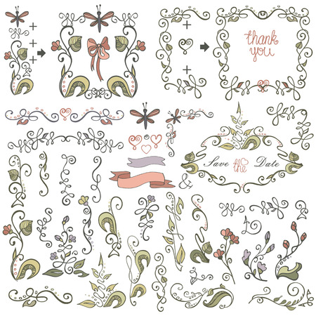 Doodle border,frame,decor element.Floral colored sketched Vector
