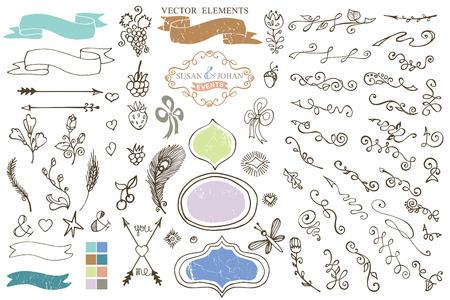 Doodle border,budges,ribbons,petal decor element Vector