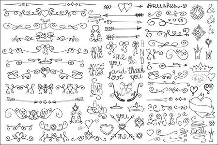 Doodle border,arrows,decor element.Love set