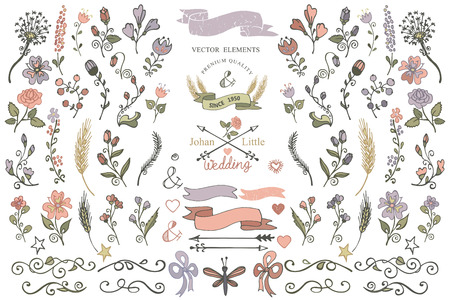 Colored  Doodles flower,brunshes,arrow,ribbon,decor elements set for hand sketched icon.Easy make design templates,invitations,icon.For weddings,Valentine day,holiday,birthday,Easter.Vector Vettoriali