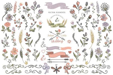 wesele: Kolorowe bazgroły kwiat, brunshes, strzałka, wstążka, elementy wystroju ustawione dla strony naszkicował icon.Easy dokonać szablonów projektowych, zaproszenia, wesele icon.For, Walentynki, święto, urodziny, Easter.Vector