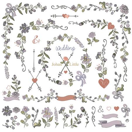 Bloemen. Doodles grens, lijst, krans, pijl, lint, bloemen decor element set.Hand sketched.Easy maken design template, uitnodiging, icon.For huwelijk, valentijnskaart dag, vakantie, verjaardag, Pasen, bruids shower.Vector