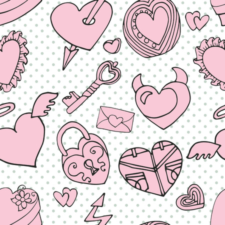 Valentines day,wedding,love,romantic hearts decor elements in seamless pattern.Cute Doodle hand drawing decor set.Outline cartoon vector.For fabrics, Wallpaper,background,wrapping paper,backdrop. Vector