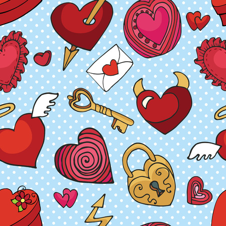 love wallpaper: Valentines day,wedding,love,romantic hearts decor elements in seamless pattern.Cute Doodle hand drawing decor set.Colored cartoon vector.For fabrics, Wallpaper,background,wrapping paper,backdrop. Illustration