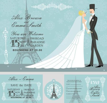 frock coat: Winter wedding invitation set.Bride,groom,snowflake,Eiffel tower Illustration