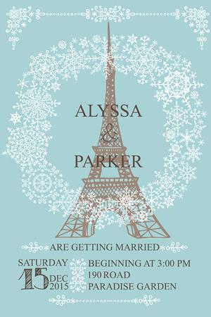 Wedding invitation.Eiffel tower,Snowflakes wreath Vector