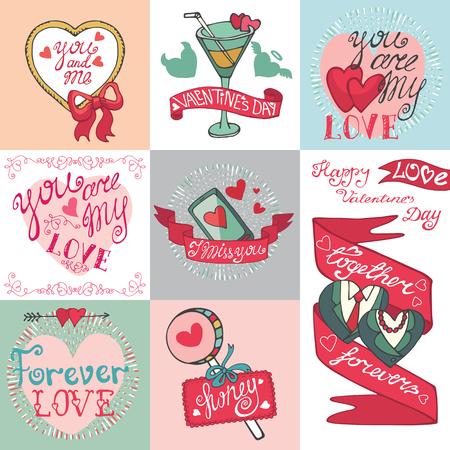 Valentines day card set.Emblems,Labels ,decorative elements Vector