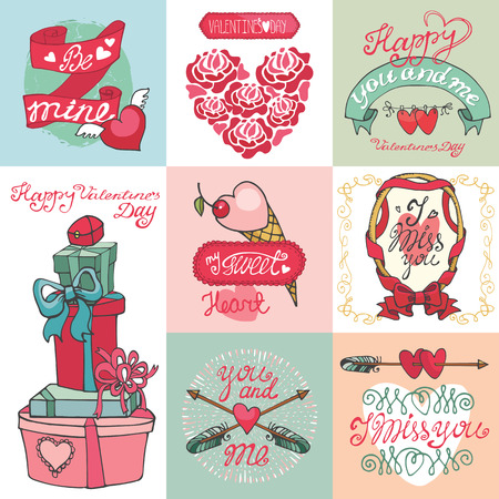 Valentines day card set.ELabels ,decorative elements Vector
