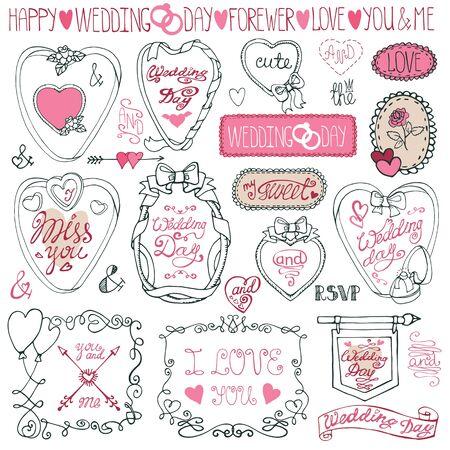 unusual valentine: Romantic frame bundle.Hand drawing Valentine,wedding decor