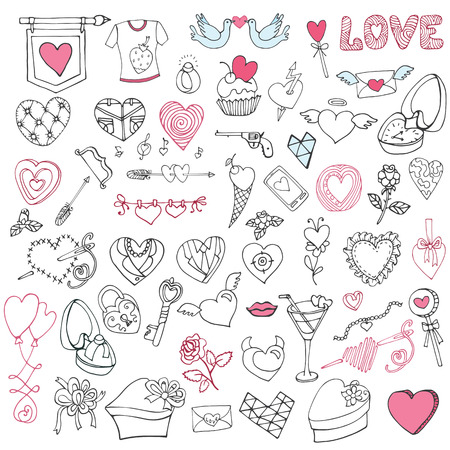 Romantic big bundle.Hand drawing Valentine,wedding decor Vector