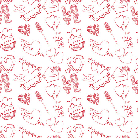 Hearts seamless pattern.Valentine day,love,wedding.Outline Vector