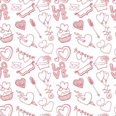 Hearts seamless pattern.Valentine day,love,wedding.Outline