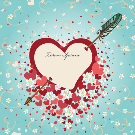 darts flying: Heart pierced by arrow with spring flowers.Vintage background Illustration