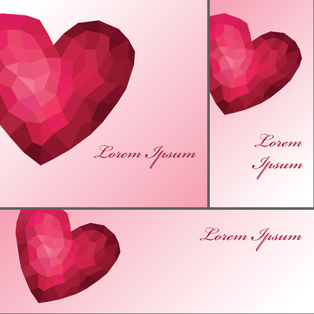 Abstract polygons pink heart.Card set Vector