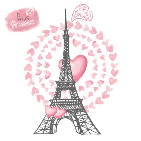 paris vintage: El amor en la torre Paris.Eiffel, corazones Acuarela wreath.Hand dibujan Vectores