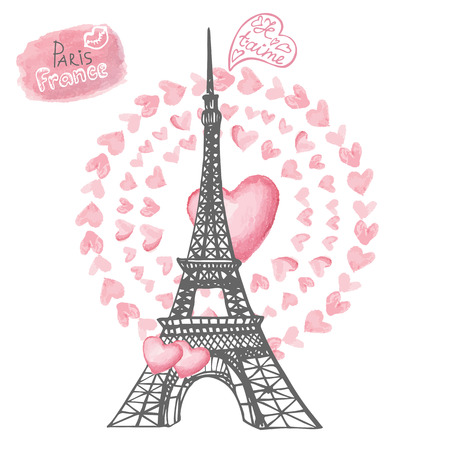 Love in Paris.Eiffel tower,Watercolor hearts wreath.Hand drawn