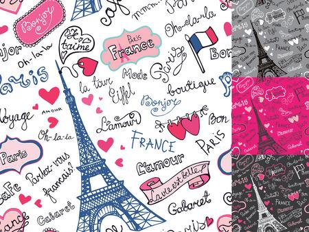 Paris symbols,lettering seamless pattern.Hand drawn doodle sketc Stock Illustratie