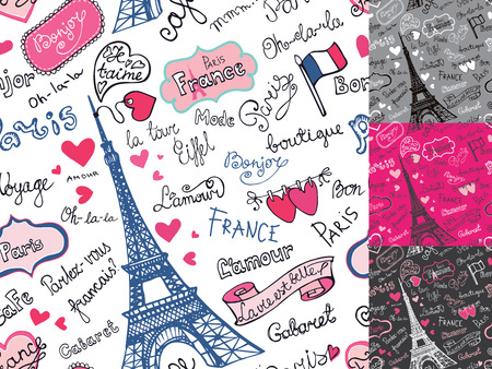 romantic getaway: Paris symbols,lettering seamless pattern.Hand drawn doodle sketc Illustration