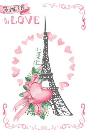 Touring: Paryż w love.Hand rysowane szkicowe, Akwarela wystrój Ilustracja